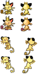 Copper and Bronze Meowth Family Sprites by Pokemusic
