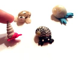 Polymer clay Crabs (with real sea shells :D ) by AlphaChoconess95