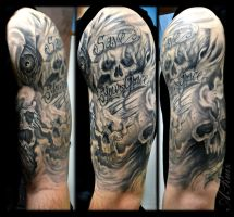 freehand skull half sleeve by A-I-M-L-ArtIsMyLife