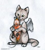 Caffeine Cat and baby phoenix by RobtheDoodler