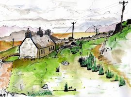Ceannabhiene cottage with Ben Loyal in distance by merearthling