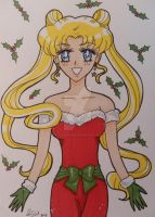 Sailor Moon Christmas cards set 1 of 4 by LadyNin-Chan