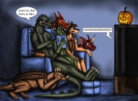 Monster movie night by Ravenfire5