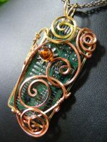 Swirled Circuit with Amber by BacktoEarthCreations
