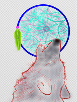 (WIP) Wolf and Dreamcatcher by PsychNcisLostLover