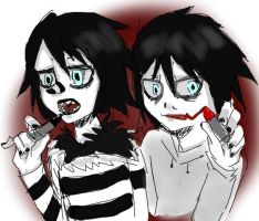 Laughing Jack and Jeff the Killer by UboaAAAA