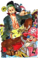 zoro 'n' chopper by waenn