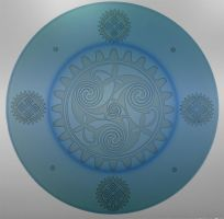 Blue Celtic steampunk etch by ImaginedGlass