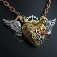 Flying steampunk heart in dock by steelhipdesign
