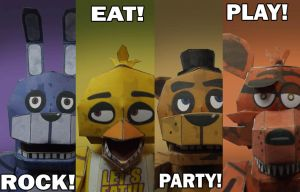 FNAF Rock! Eat! Party! Play! papercraft by Adogopaper
