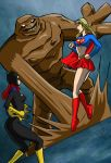 Supergirl, Batgirl vs Clayface by mhunt