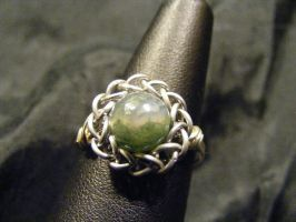 persian sphere moss agate ring by BacktoEarthCreations