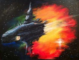 Spaceship and Nebula by Blackbirdcd