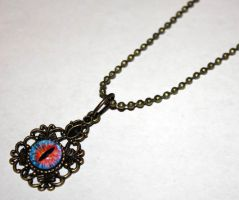 Glass Fire Dragon Eye Necklace by Create-A-Pendant