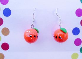 Cute Happy Orange earrings by kikums