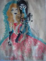 Girl and the Ghost soya sauce and vinegar painting by FoolsGolde