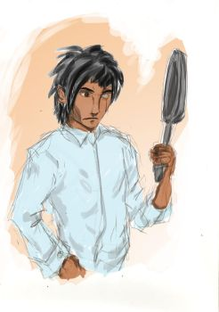 Alec with a frying pan by Kippur