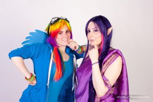 twilight sparkle and rainbow dash by goblincreations