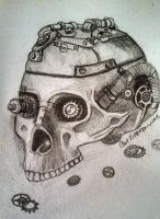 Steampunk Skull by ravencolored