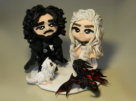 Chibi Jon and Dany (Fanart) by maga-01