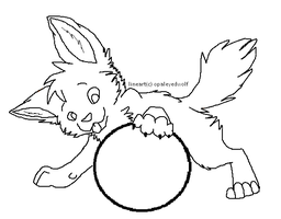 puppy with ball lineart by ProtoSykeLegacy