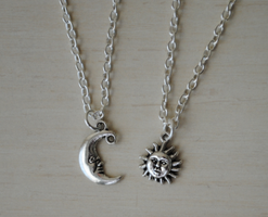 Sun and Moon Neckace Set by ClayRunway