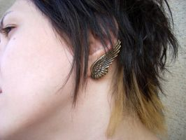 Dark Angel Earrings Brass by Aranwen