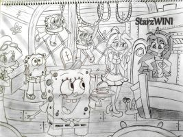 Busy Day at the Krusty Krab by StarzWINI