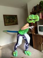Blue the Velociraptor WIP Fursuit by EmberKitti