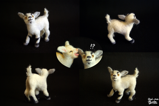 Playful Little Goat-needle felted by EelOmen