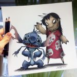 Creepy Lilo and Stitch Drawing by AtomiccircuS