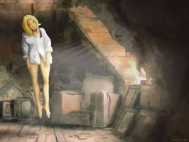 Attic hanged blonde by DocBraun