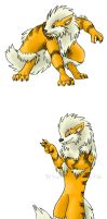 Anthro Arcanine Colored by WindieDragon
