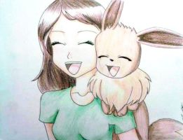 Eevee and her Trainer by Aynyi-Keir