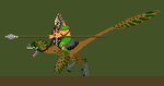 Raptor-Mounted Tribal Warrior by morkergroth