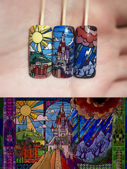 Beauty and the Beast nail art by ladymarengo