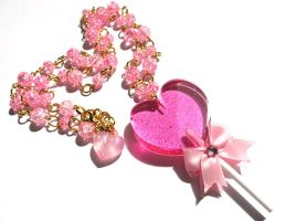 Lollipop Heart necklace by pinkminx