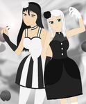 Black and White Rose Duo - Scarlett and Margaret by Sweetgirl333