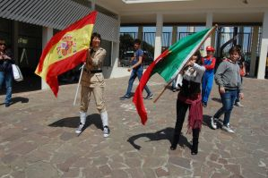 Spain and Portugal cosplay... and..  flags! by mory-chan