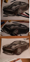 Drawing Dodge Challenger x3 by xxCaliforniaAngelxx