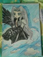 Chibi Sephiroth on a cloud by lustyvampire
