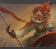 Avian spearman by Nightblue-art