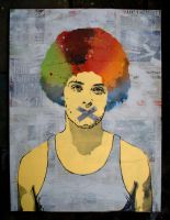 Coloured Afro Canvas Version 2 by waattt