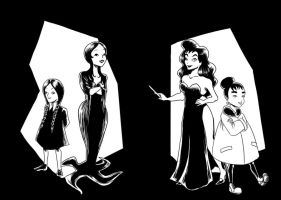 The Addams and Little Witches by AalienoOr