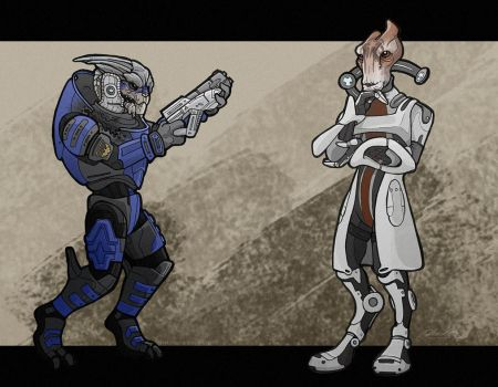 BOOKMARKS Garrus Vakarian and Mordin Solus by BloodhoundOmega