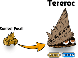 Fakemon - Tereroc (Conical Fossil) by AmbrosiaDelish