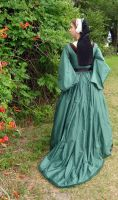 Green Silk Tudor Gown Back Shot by CenturiesSewing