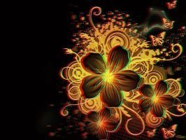 Flowers In Black 3-D conversion by MVRamsey