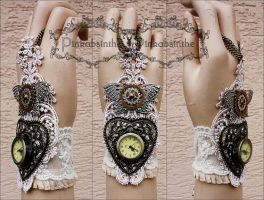 Mechanical butterfly watch cuff by Pinkabsinthe