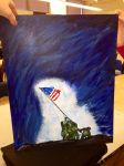 Iwo Jima Flag Raising Painting by Maddy31400